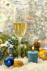 Glass of champagne with christmas decoration