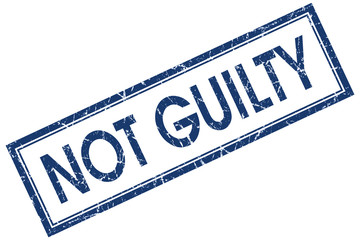 not guilty blue square stamp isolated on white background