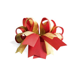 red and gold fancy gift bow