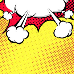 Hanging Speech Bubble Cloud Pop-Art Style