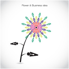 Flower and business teamwork cooperation sign. Together union sy