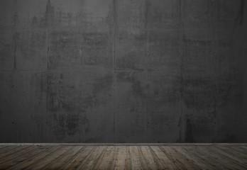 Leerer dunkler Raum mit Holzboden und Steinwand