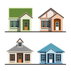 set of silhouette houses flat design vector illustration