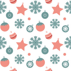 New Year Seamless Pattern, Vector