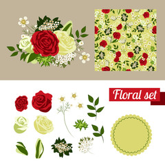 Hand Drawn floral elements. Set of flowers. You can make your