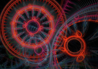 Red and blue abstract circle fractal