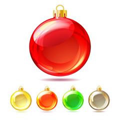 Set of Glossy Christmas balls on white background.