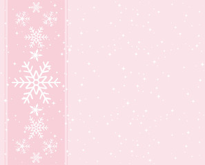 Sweet pink snowflakes greeting card.