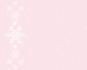PInk snowflakes background for greeting card.