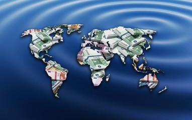 Weltkarte Geld auf Wasser