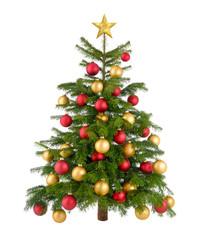 Rot und gold geschmückter Weihnachtsbaum