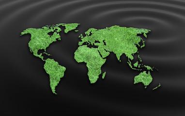 Weltkarte Gras auf Schwarz