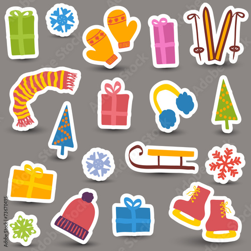 Cotton fabric Christmas and winter icons