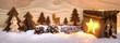 Weihnachtliche Szene aus Holz mit Laterne - 73670858