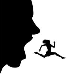 uomo che cerca di inghiottire una donna che scappa