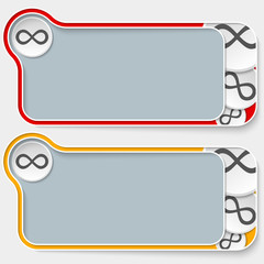 set of two abstract text boxes with infinity symbol