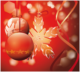 Rec christmas tree decoration over red glowing background