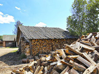 Old firewood shed in Belarus
