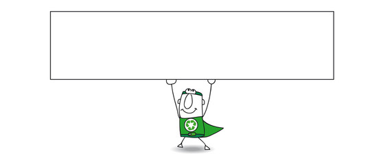 Super Recycling man and his horizontal banner