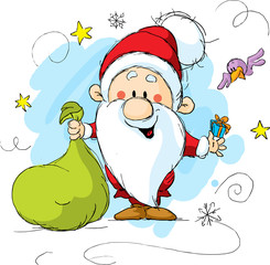 Santa Claus holding a bag and gift in hands