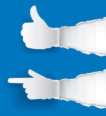 Gesturing paper hands