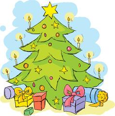 christmas tree - colorful sketch