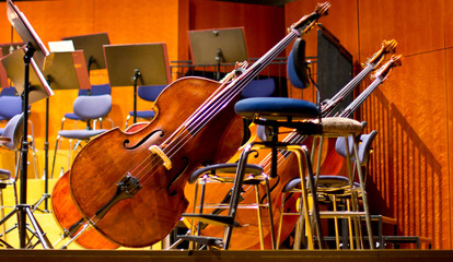 Contrabass on stage in front of an empty hall