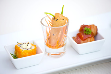 Set of Spring rolls - Sushi - Fried bacon with sausage