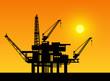 Oil derrick in sea for industrial design. - 73673692