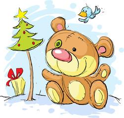 christmas postcard illustration with bear and christmas tree