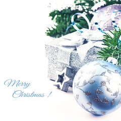 Christmas setting with present and festive ornaments