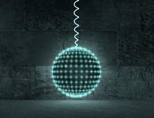 neon light disco sphere in concrete room