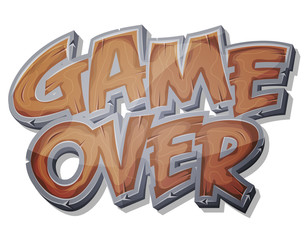 Game Over Wooden Icon For Ui Game