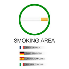 Smoking area background with cigarette and flags