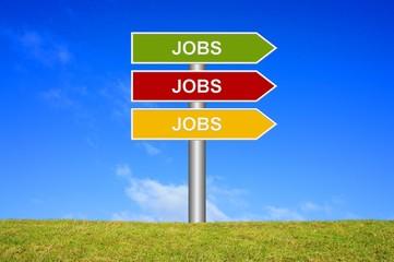 Schild Wegweiser: Jobs Jobs Jobs