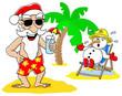 Weihnachtsmann und Schneemann feiern Weihnachten am Strand