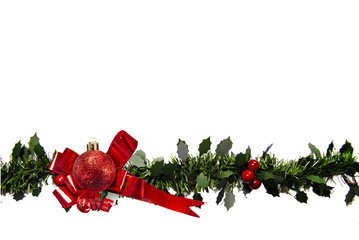 Red Ribbon with  Bauble and Holly on white background .
