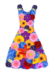 women dress from spring flowers on white background