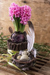 spring decoration with quail eggs and hyacinth flower