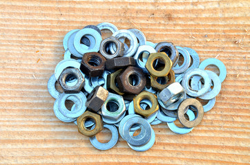 Pile of metallic washer and nuts