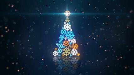 blue orange christmas tree shape of glowing snowflakes loop