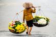 Leinwanddruck Bild - Life of florist vendor at small market in HANOI,vietnam