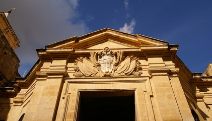 Law Court building facade in Valletta, Malta.