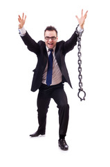 Businessman with chain isolated on the white