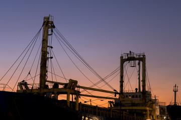 Sunset, boat pole silhouette
