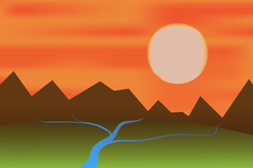 Vector of sunset landscape with mountains and rivers.