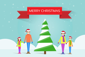 christmas happy family with green tree greeting card