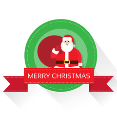 Santa claus on christmas greeting card with merry christmas
