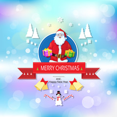 Santa claus on christmas greeting card holding gift box