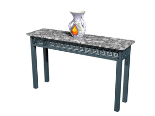 Iron and Marble Console ans Vase
